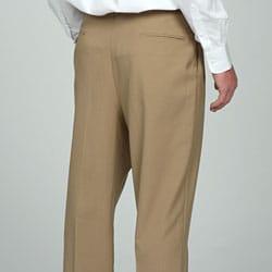 Sansabelt Men's Camel Pleated Wool Trousers - Thumbnail 1