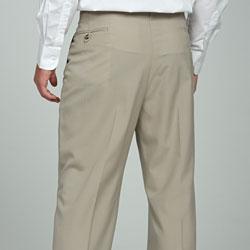 Sansabelt Men's Natural Pleated Wool Trousers - Thumbnail 1