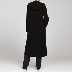 Anne Klein Women's Long Hooded Wool Blend Coat - Free Shipping ...