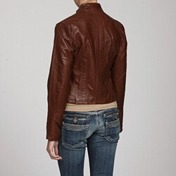 Solitaire Women's Seamed Faux Leather Jacket - Thumbnail 1