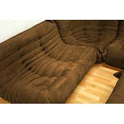 Microfiber Brown 5-piece Living Room Set - Thumbnail 1