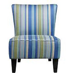 Portfolio Hali Striped Sea Blue Armless Designer Accent Chair