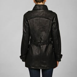 Collezione Italia Women's Leather Asymmetrical Placket Trench - Thumbnail 1