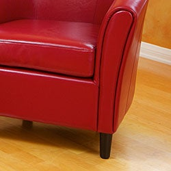Napoli Red Bonded Leather Club Chair - Thumbnail 1