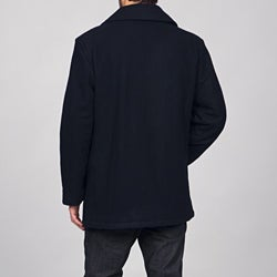 London Fog Men's Double-breasted Wool Blend Peacoat FINAL SALE - Thumbnail 1