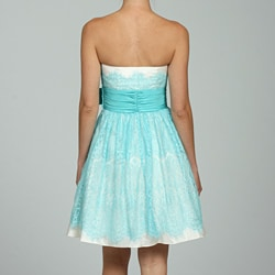 Betsey Johnson Women's Strapless Lace Over Lay Party Dress - Thumbnail 1