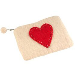 Wool Felt Loving Heart Change Purse (Nepal) - Thumbnail 1
