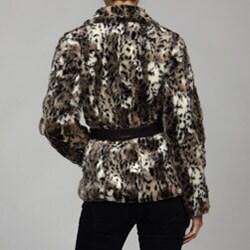 Hawke & Co. Women's Faux Fur Leopard Print Coat