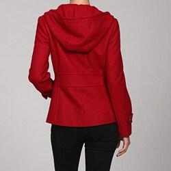 Nine West Women's Red Hooded Wool Coat - Thumbnail 1