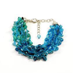 Glass and Wood Teal Beaded Bracelet Set (India) - Thumbnail 1