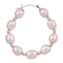 Kabella Sterling Silver Pink Freshwater Pearl and Bead Hoop Earrings (7-9 mm)