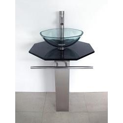 Brushed Stainless Steel Pedestal and Black Glass Countertop and Faucet Vanity - Thumbnail 1
