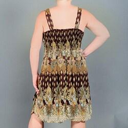 Mlle Gabrielle Women's Plus Mix Print Dress