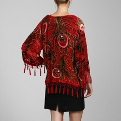 Handmade Red Embroidered Velvet-and-Silk Shawl Jacket with Tassel Accents