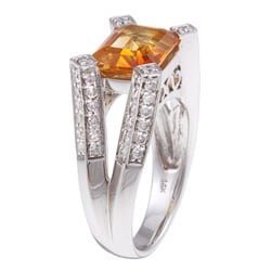 14k Gold Citrine and 3/4ct TDW Diamond Cocktail Estate Ring (H-I, SI1-SI2)