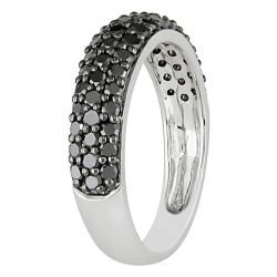 10k White Gold 1ct TDW Black Diamond Pave Ring - Thumbnail 1
