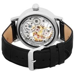 Akribos XXIV Men's Skeleton Mechanical Stainless Steel Strap Watch