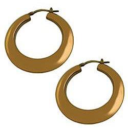 Fremada Chocolate-plated Sterling Silver Puffed Hoop Earrings