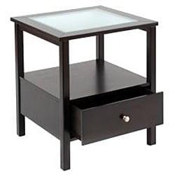 Bay Shore Rubberwood Glass-top End Table - Thumbnail 1
