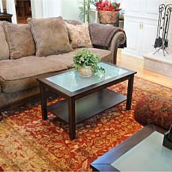 Bay Shore Rubberwood Glass Top Coffee Table Free