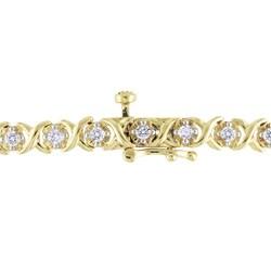Miadora 10k Yellow Gold 1ct TDW Diamond Tennis Bracelet