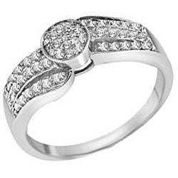 Sterling Silver 1/4ct TDW Diamond Ring (I-J, I2-I3) (Size 7) - Thumbnail 1