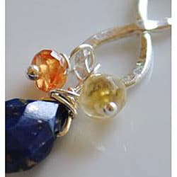 Sterling and Fine Silver Infinity Pendant with Lapis, Mandarin Garnet, and Citrine Necklace - Thumbnail 1