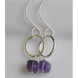 Sterling and Fine Silver Amethyst Earrings - Thumbnail 1