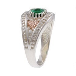 Black Hills Gold and Sterling Silver Green Obsidianite Ring - Thumbnail 1