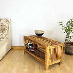Handmade Hand Carved Teak Slat Coffee Table Thailand