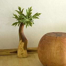 Monkey Pod Wood Clear Oil Natural Vase (Thailand)