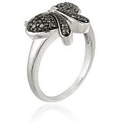 DB Designs Sterling Silver Black Diamond Accent Butterfly Ring - Thumbnail 1