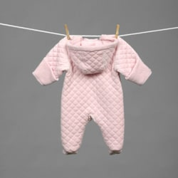 Little Me Newborn Girl's Quilted Velour Pram - Thumbnail 1