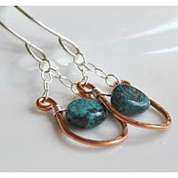 AEBDesign Copper and Sterling Silver Turquoise Earrings - Thumbnail 1