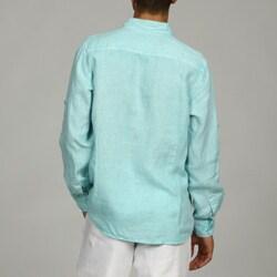 Natural Blue Men's Enzyme Wash Linen Shirt - Thumbnail 1