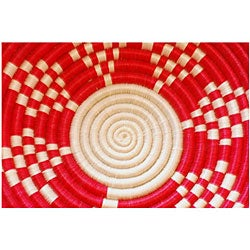 Plant Fiber Red and White Plateau Basket (Rwanda)