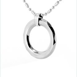 West Coast Jewelry Men's Tungsten Carbide Faceted Edge Disc Necklace