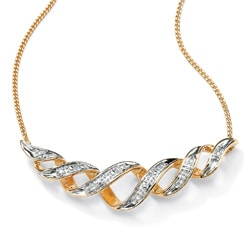 Isabella Collection 18k Gold over Silver Diamond Accent Floating Ribbon Necklace - Thumbnail 1