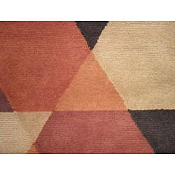 Indo Hand-knotted Rust/ Beige Tibetan-style Wool Rug (3'5 x 5'5) - Thumbnail 1