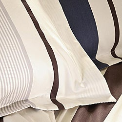 Blue and Brown Stripe Full/ Queen-size Duvet Cover Set - Thumbnail 1