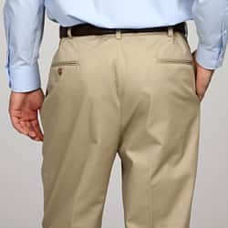 Austin Reed Men S Pleated Khaki Satin Twill Reflex Pants Overstock 5255552