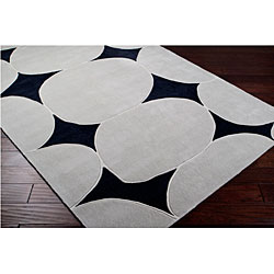 Hand-tufted Contemporary Circles Rocky Road Black/Grey Abstract Rug (8'x11')