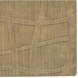 Candice Olson Loomed Structural Taupe Abstract Plush Wool Rug (8' x 11') - Thumbnail 1