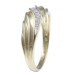 Mens 10k Yellow Gold Diamond Accent Wedding Ring