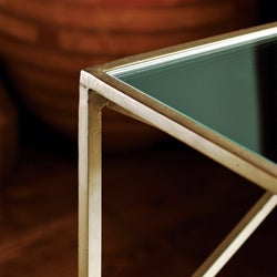 Handmade Brass-plated Iron and Glass Square End Table (India) - Thumbnail 1