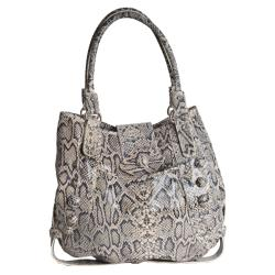 Michael Rome Snake Embossed Leather Tote Bag