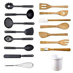 Kitchen Tool 16-piece Set in Ceramic Tub - Thumbnail 1