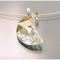Sterling Silver Austrian-cut Crystal Crescent Moon Necklace (USA) - Thumbnail 1