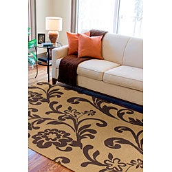 Hand-hooked Tropic Dark Brown Indoor/Outdoor Floral Rug (9' x 12') - Thumbnail 1