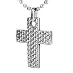 West Coast Jewelry Stainless Steel Honeycomb Cross Necklace